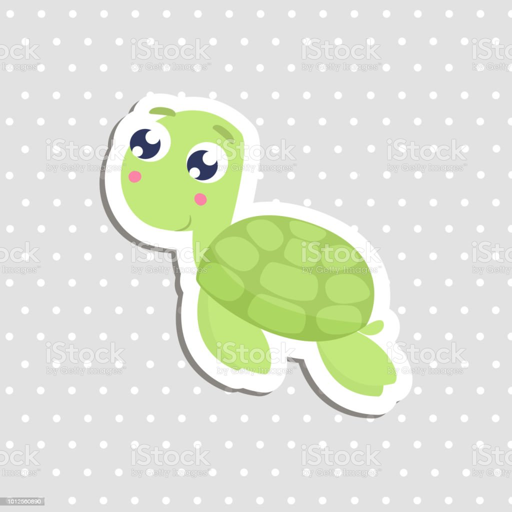 Cute sea turtle sticker vector illustration royalty free cute sea turtle sticker vector illustration