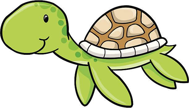 Cute Sea turtle vector art illustration