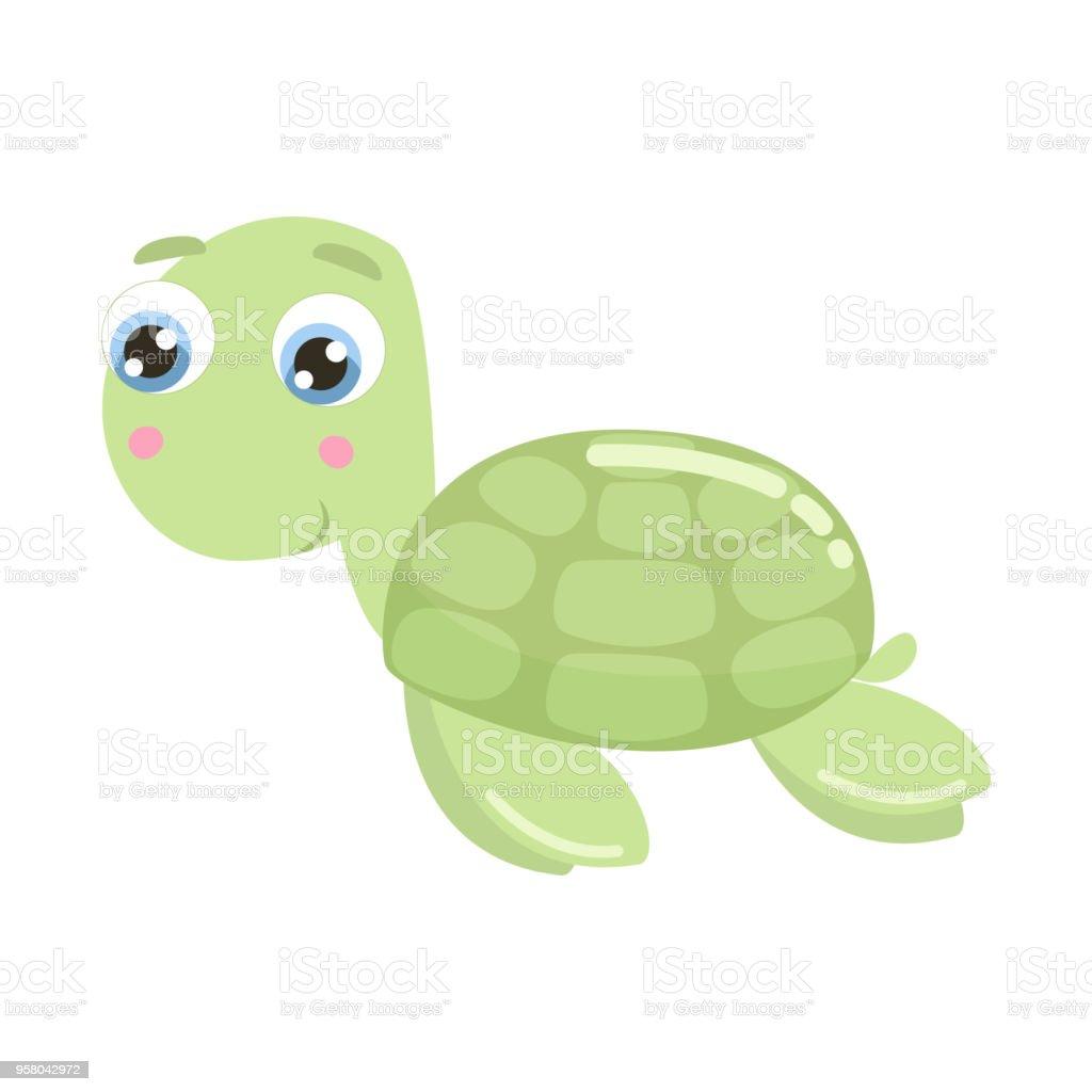Sevimli Deniz Kaplumbağası Vektör çizim Stok Vektör Sanatı Abdnin