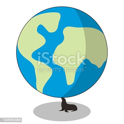 istock cute seal playing the earth ball, vector illustration 1328262064