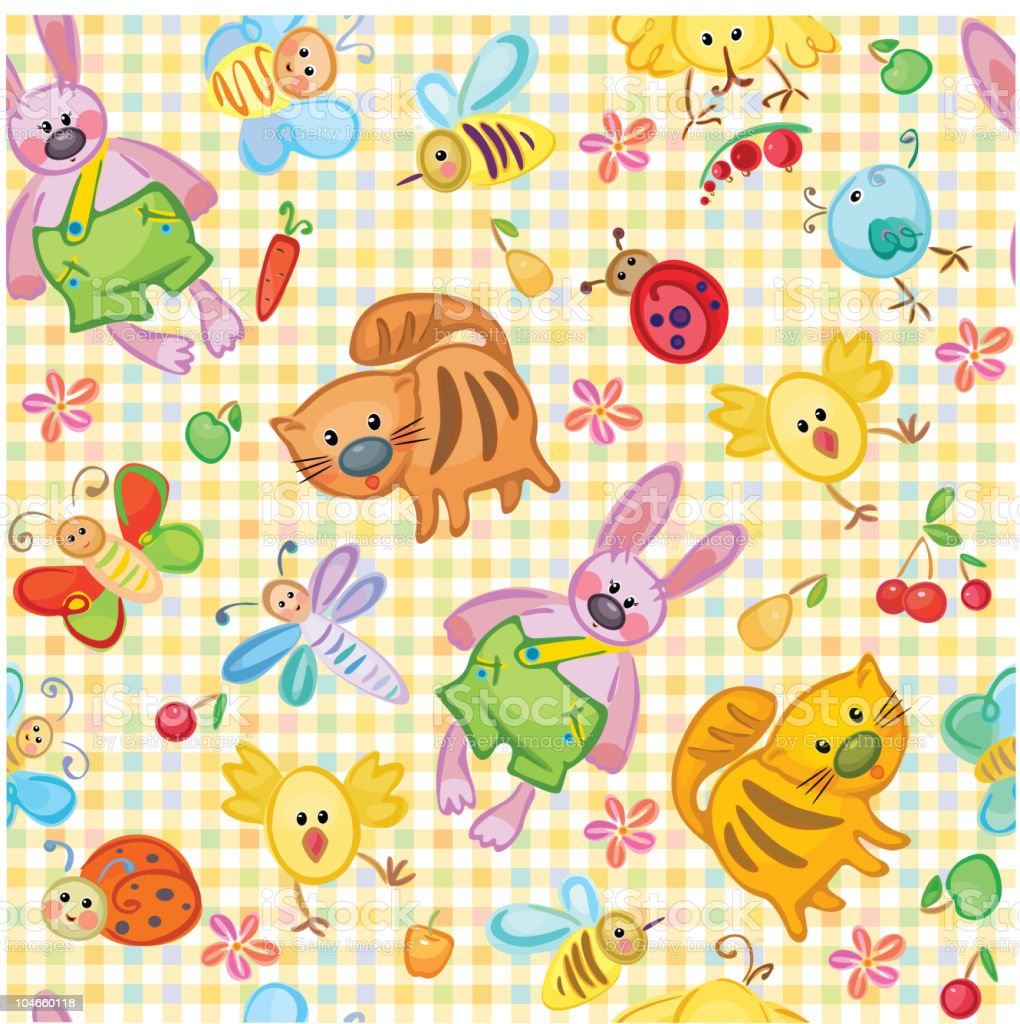 Cute seamless animal's pattern for your design. royalty-free stock vector art