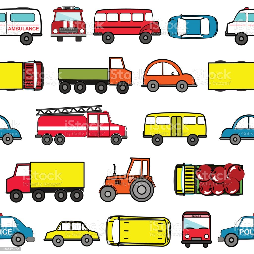 cute seamless background with cartoon cars transport pattern stock