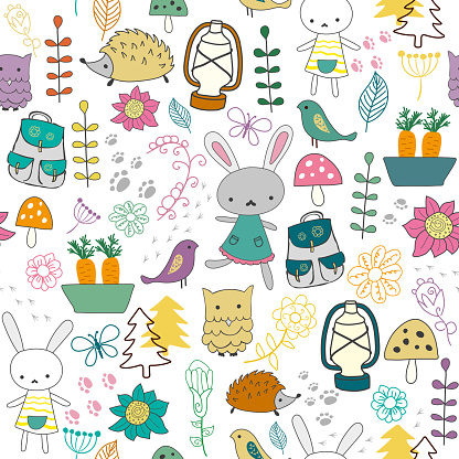Cute seamless background with funny bunnies, birds and flowers in cartoon style