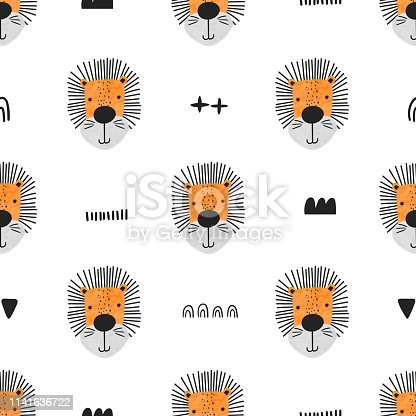 Seamless pattern with lions and hand-drawn elements on a white background. Cute vector illustration for children.