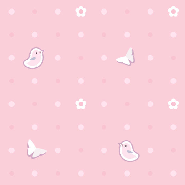 Cute seamless background with pink birds, butterflies, flowers.  Polka dot pattern. Children's bedroom, baby nursery decorative wallpaper. Cover or a gift wrap. Vector Illustration. Cute seamless background with pink birds, butterflies, flowers.  Polka dot pattern. Children's bedroom, baby nursery decorative wallpaper. Cover or a gift wrap. Vector Illustration. bedroom backgrounds stock illustrations