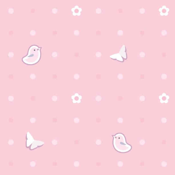 niedliche nahtlose hintergrund mit rosa vögel, schmetterlinge, blumen.  polka dot muster. kinderzimmer, baby kinderzimmer dekorative tapeten. abdeckung oder eine geschenkverpackung. vektor-illustration. - tapete stock-grafiken, -clipart, -cartoons und -symbole