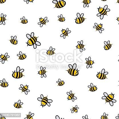 Cute seamless bee pattern vector illustration