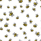 Cute seamless bee pattern vector illustration
