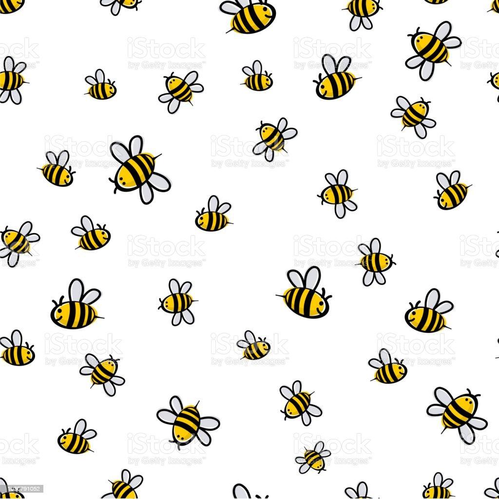 Süße Biene nahtlose Muster Vektor – Vektorgrafik