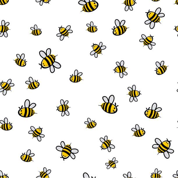 illustrazioni stock, clip art, cartoni animati e icone di tendenza di cute seamless bee pattern vector - miele dolci