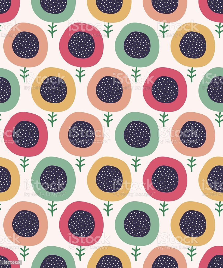 Cute seamless doodle flowers pattern. Vector illustration. royalty-free cute seamless doodle flowers pattern vector illustration stock vector art & more images of abstract