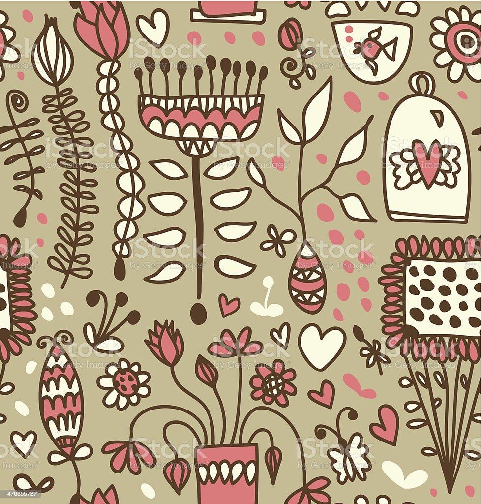 Cute seamless doodle pattern. Decorative ornate design template vector art illustration
