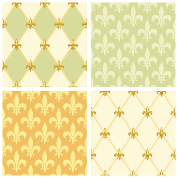 Cute seamless Fleur de Lis pattern Cute seamless Fleur de Lis pattern in traditional colors for your decoration french culture stock illustrations