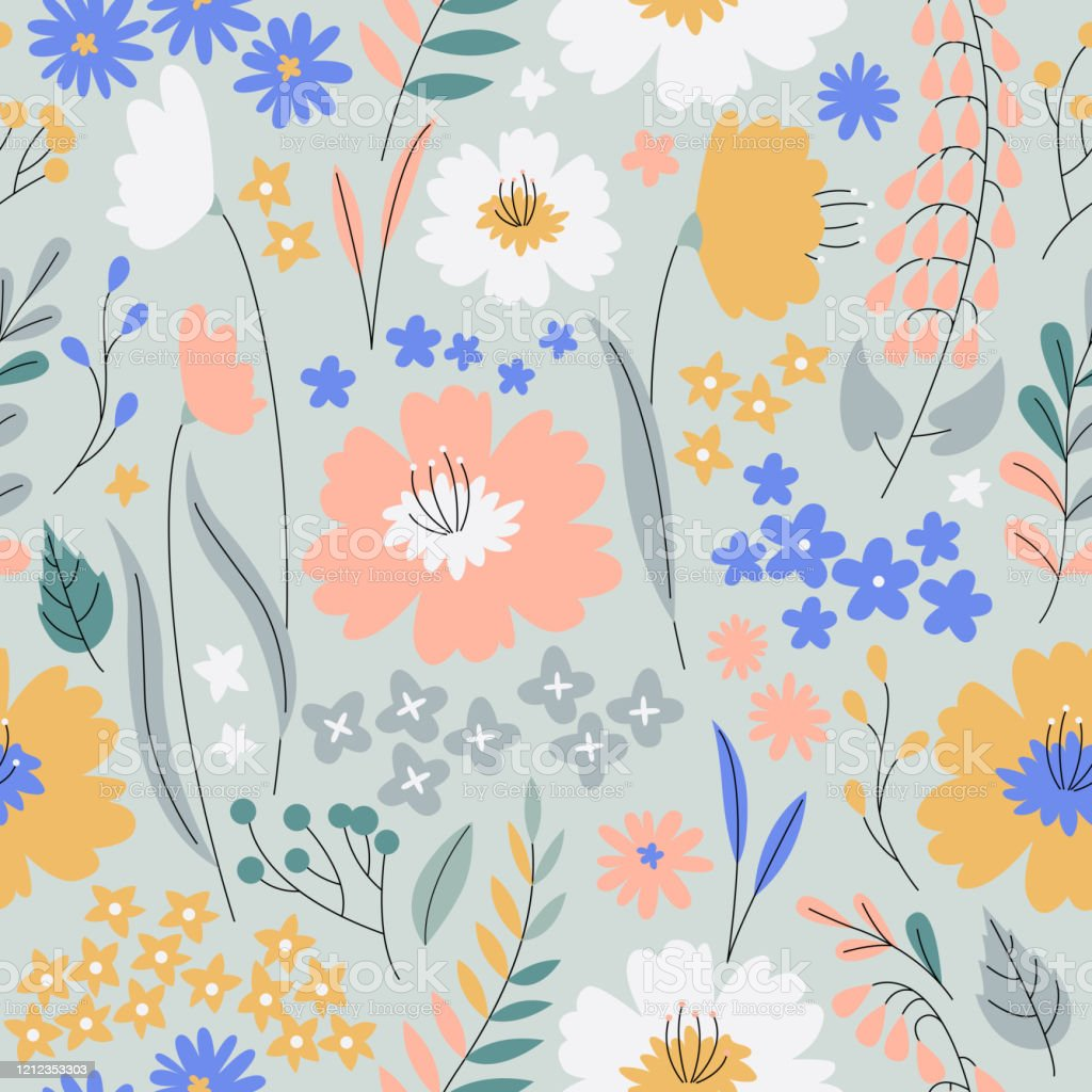 Cute Seamless Floral Pattern Small Colorful Spring Flowers Modern