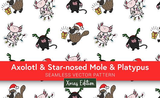 Cute Seamless Hand Drawn Weird Christmas Animals Pattern - Axolotl, Star-Nosed Mole and Platypus - Christmas Edition