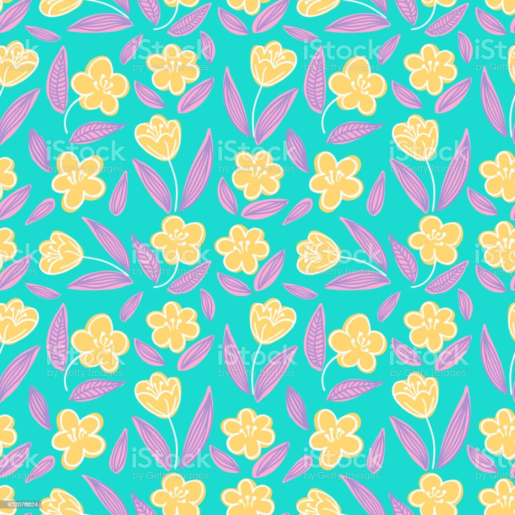 Cute Seamless Handdrawn Floral Pattern With Yellow Buttercup