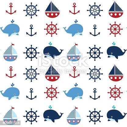 istock Vector set - ballenas, ancla, ruedas, barcos y empavesados de ...