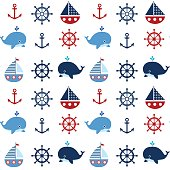 Cute seamless nautical pattern with boats and whales in red and blue colors for kids clothing, greeting cards and baby shower backgrounds