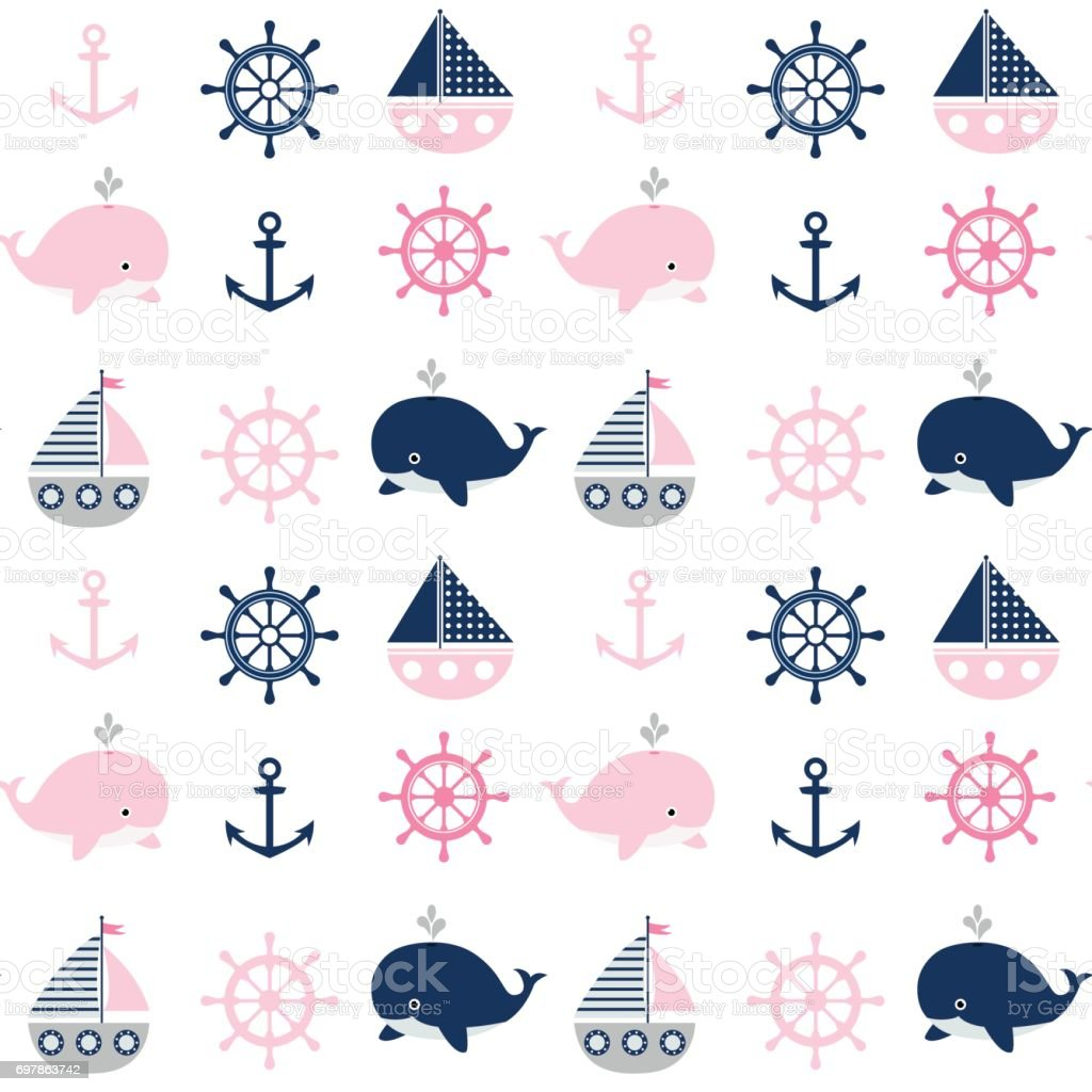 Cute Seamless Nautical Pattern With Whales And Boats For Children