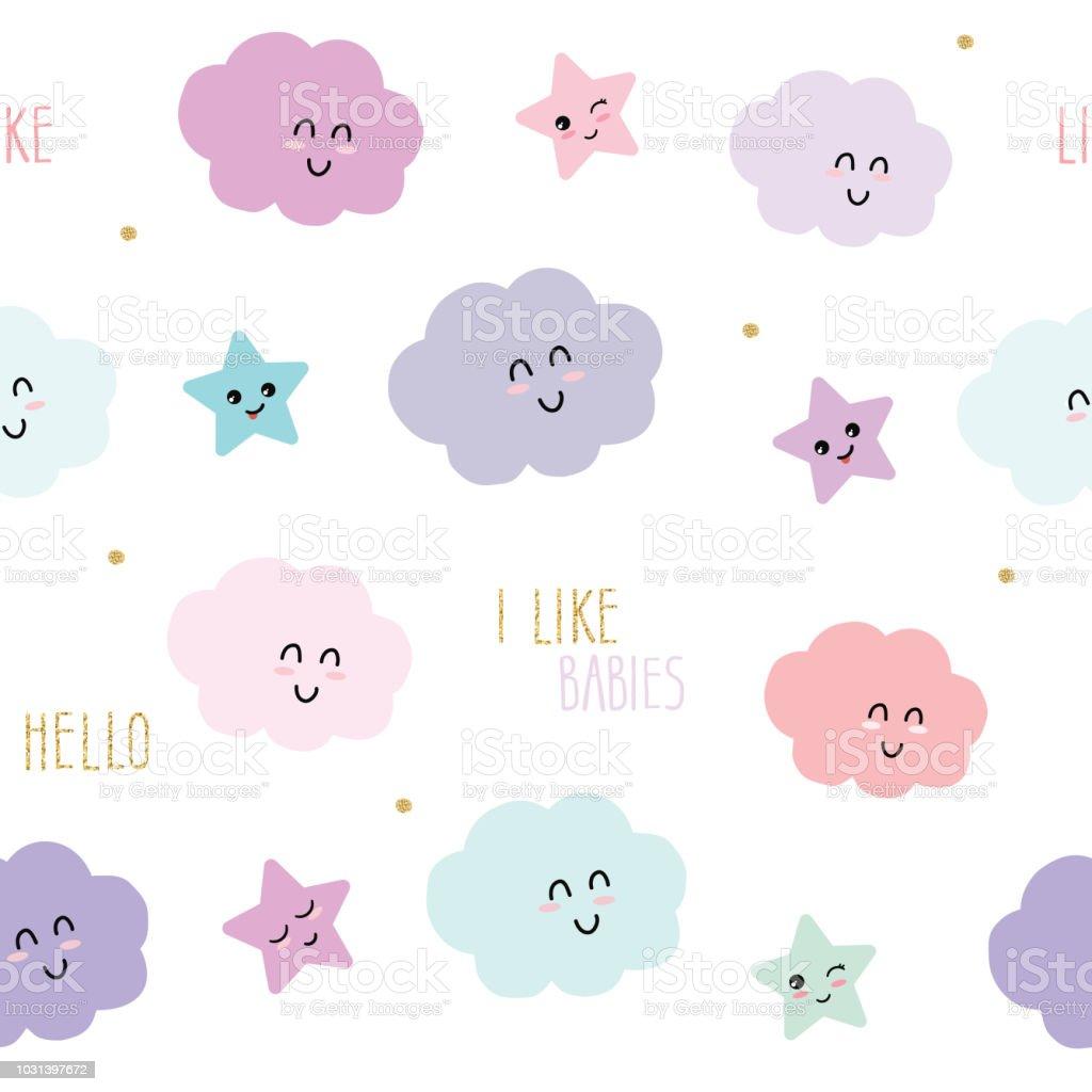 9bbd5146d42d Fondo lindo patrón transparente con dibujos animados kawaii estrellas y  nubes. Para niños ropa,