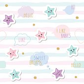 Cute seamless pattern background with cartoon kawaii stars and speech bubbles. For little girls babies clothes, pajamas, baby shower design. Pastel pink, blue and glitter.