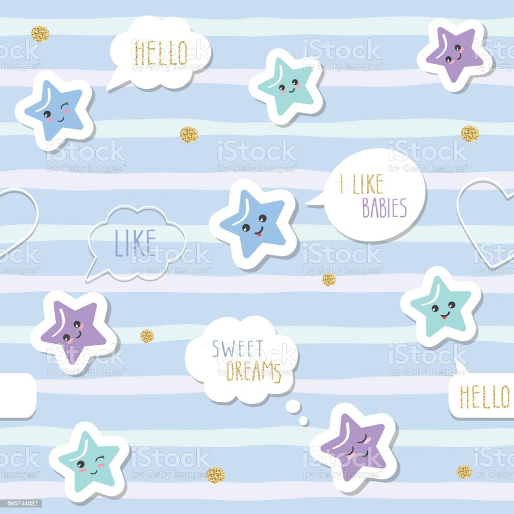 Cute Seamless Pattern Background With Cartoon Kawaii Stars And Speech  Bubbles. For Little Boys Babies