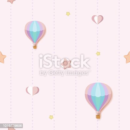 istock Cute seamless pattern background with colorful stars, hearts and hot air balloons. Seamless pink pattern with dotted stripes. Children's bedroom, baby nursery decorative wallpaper. Vector Illustration 1015229856