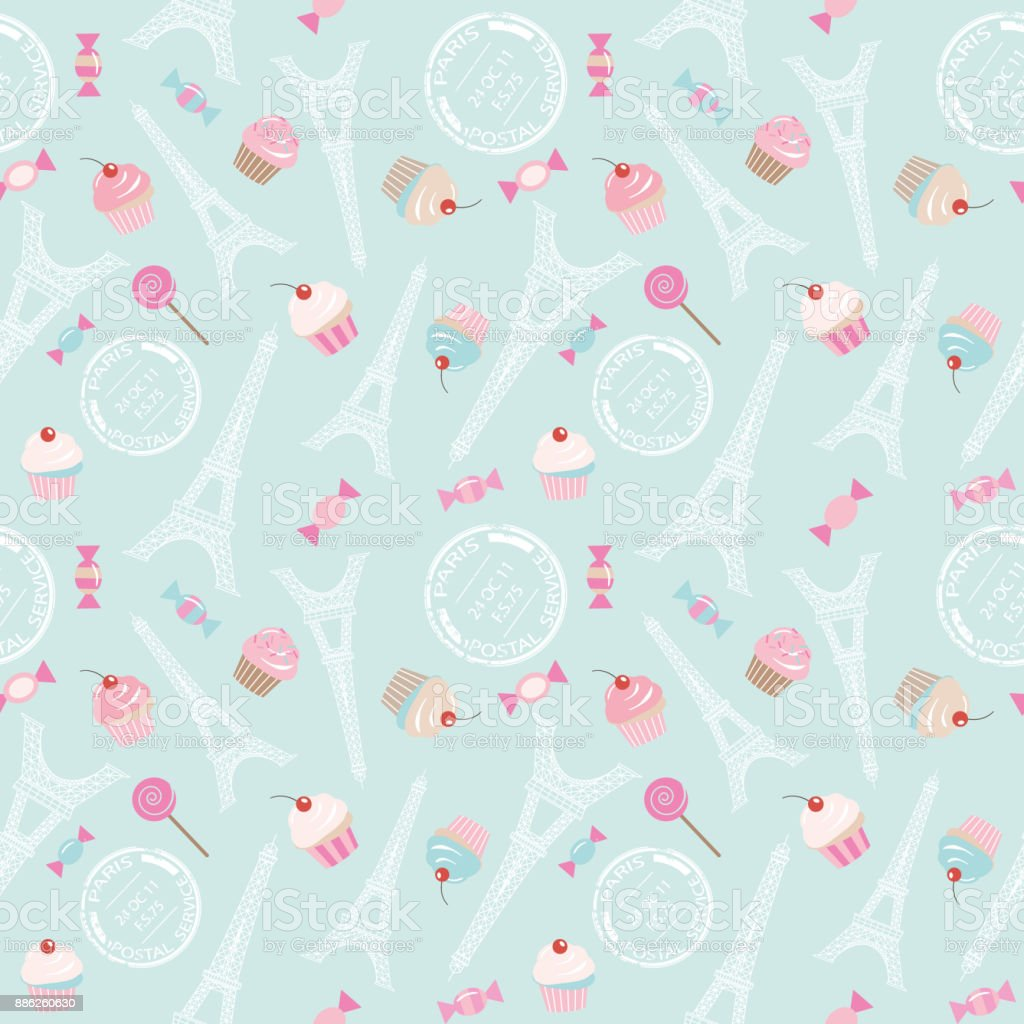 Cute Seamless Pattern Background With Eiffel Tower Cupcakes And Sweets On Pastel Blue For
