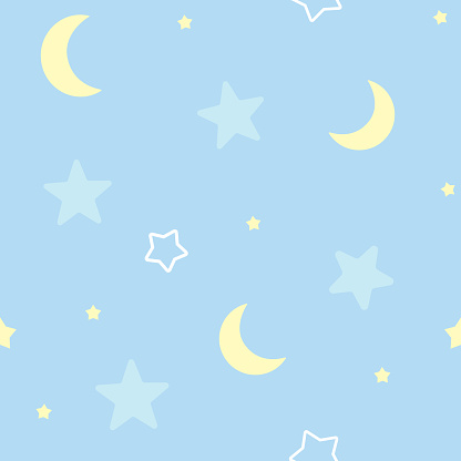 Cute seamless pattern background with stars and moon. Children's bedroom, baby nursery decorative wallpaper. Vector Illustration.