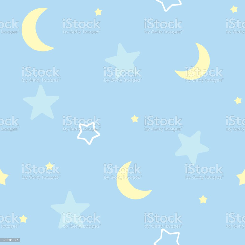 Cute seamless pattern background with stars and moon. Children's bedroom, baby nursery decorative wallpaper. Vector Illustration. vector art illustration