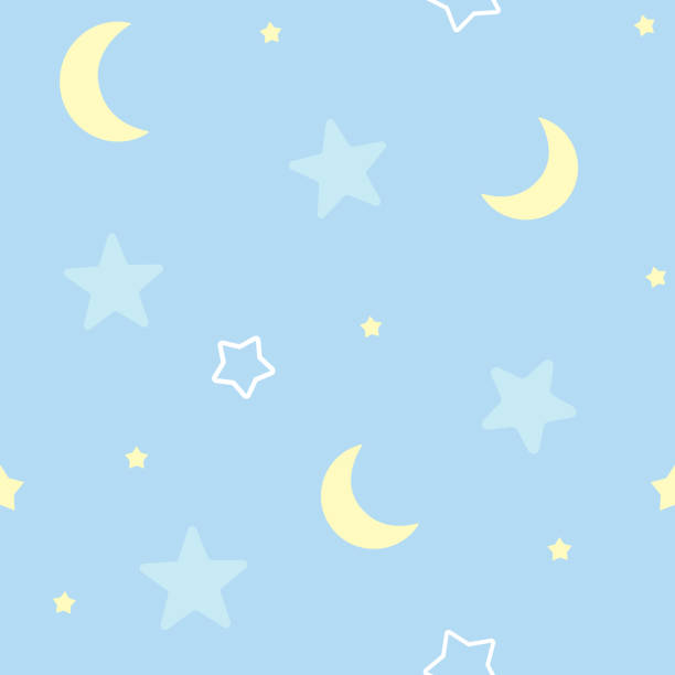 Cute seamless pattern background with stars and moon. Children's bedroom, baby nursery decorative wallpaper. Vector Illustration. Cute seamless pattern background with stars and moon. Children's bedroom, baby nursery decorative wallpaper. Vector Illustration. bedroom patterns stock illustrations