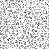 Cute seamless pattern for children. Baby background with different doodle illustrations