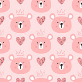 Cute seamless pattern for children. Repeated heads of bears with crowns and hearts. Drawn by hand.