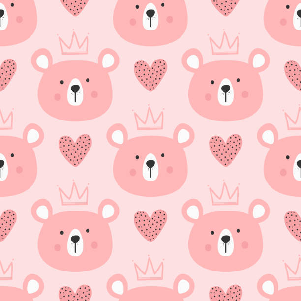 ilustrações de stock, clip art, desenhos animados e ícones de cute seamless pattern for children. repeated heads of bears with crowns and hearts. drawn by hand. - girl