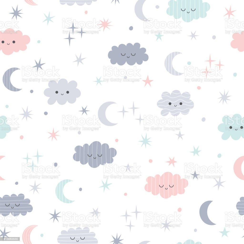 Cute Seamless Pattern For Kids Lovely Children Background