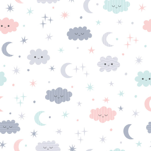Cute seamless pattern for kids. Lovely children background with moon, stars and clouds Cute seamless pattern for kids. Lovely children background with moon, stars and clouds. Vector illustration garden center stock illustrations