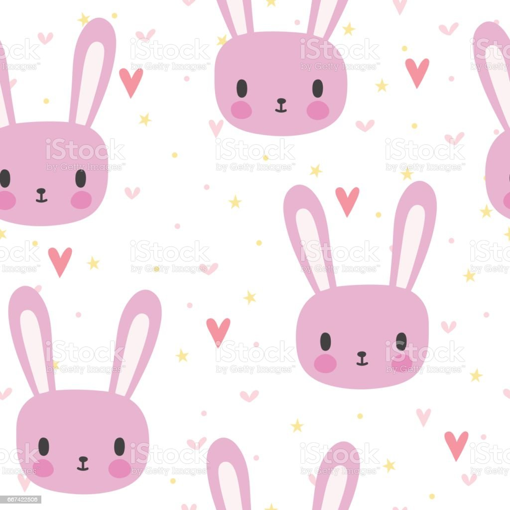 cute seamless pattern for little girls with funny bunny smile