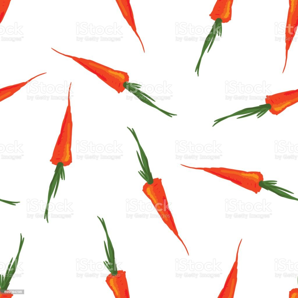 Cute seamless pattern made of sketched carrots. vector art illustration