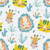 Cute seamless pattern of baby illustration for boy of hand graphic drawing wild animal, lion, tiger and giraffe. Childish simple backdrop for fabric, textile, paper, wallpaper, wrapping, poster, print