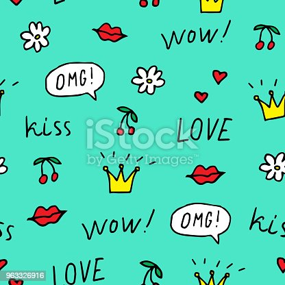 Cherry, lips, crowns, flower, speech bubbles, words love, wow, omg, kiss. Vector illustration