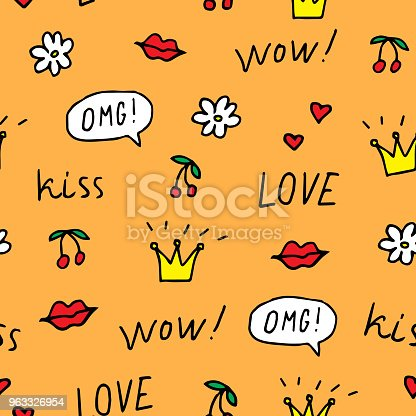 Cherry, lips, crowns, flower, speech bubbles, words love, wow, omg, kiss. Vector illustration