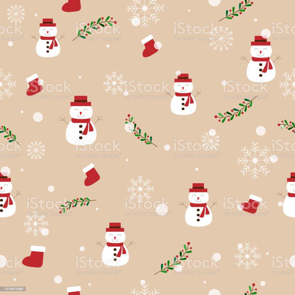 雪だるま雪赤い靴下クリスマスのテーマや幸福な新しい年の大雪でパステル調の茶色の背景にヤドリギのかわいいシームレス パターンベクトルは落書きアート クリスマス壁紙の模様で お祝いのベクターアート素材や画像を多数ご用意 Istock