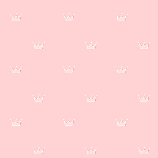 Cute seamless pattern. Pink royal vector background. Doodle crown with little white dots. Sweet rose design for princess room, girl clothes, fabric, party invite. Light soft female scrapbook paper. bedroom patterns stock illustrations