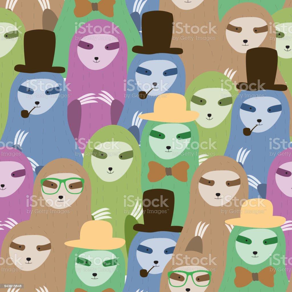 Cute seamless pattern sloths family cartoon background. Vector illustration. vector art illustration