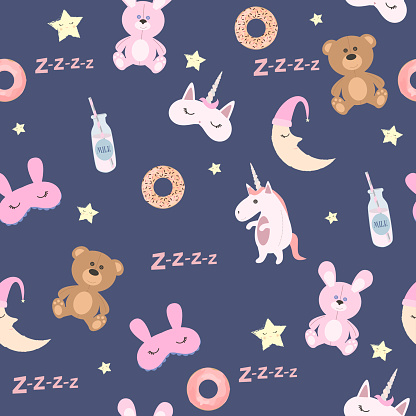 Cute seamless pattern toys, stars and donut. Pajama party background.