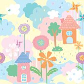 Cute seamless pattern wallpaper of house, flower and tree decorated with pinwheel on natural background in pastel colors.