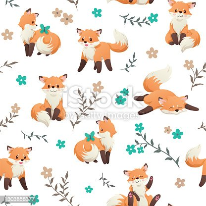 istock Cute seamless pattern with a little fox, butterfly and flowers. Hand Drawn vector illustration. Wrapping paper pattern. Background with vector cartoon elements. 1303858377