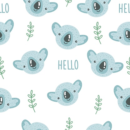 Cute seamless pattern with baby coala and lettering HELLO . Creative childish print. Great for fabric, textile. Vector illustration.