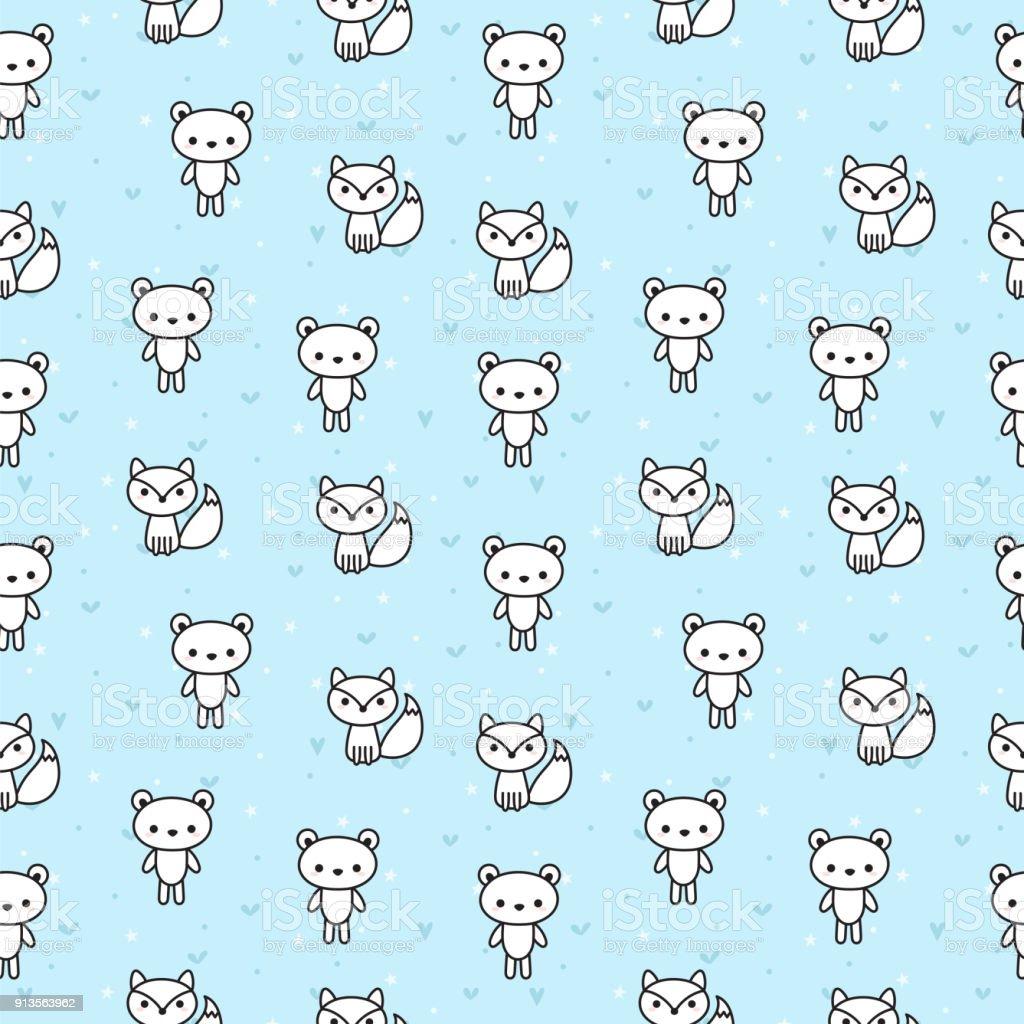 クマとキツネの子供のためのかわいいシームレス パターン青の背景に素敵