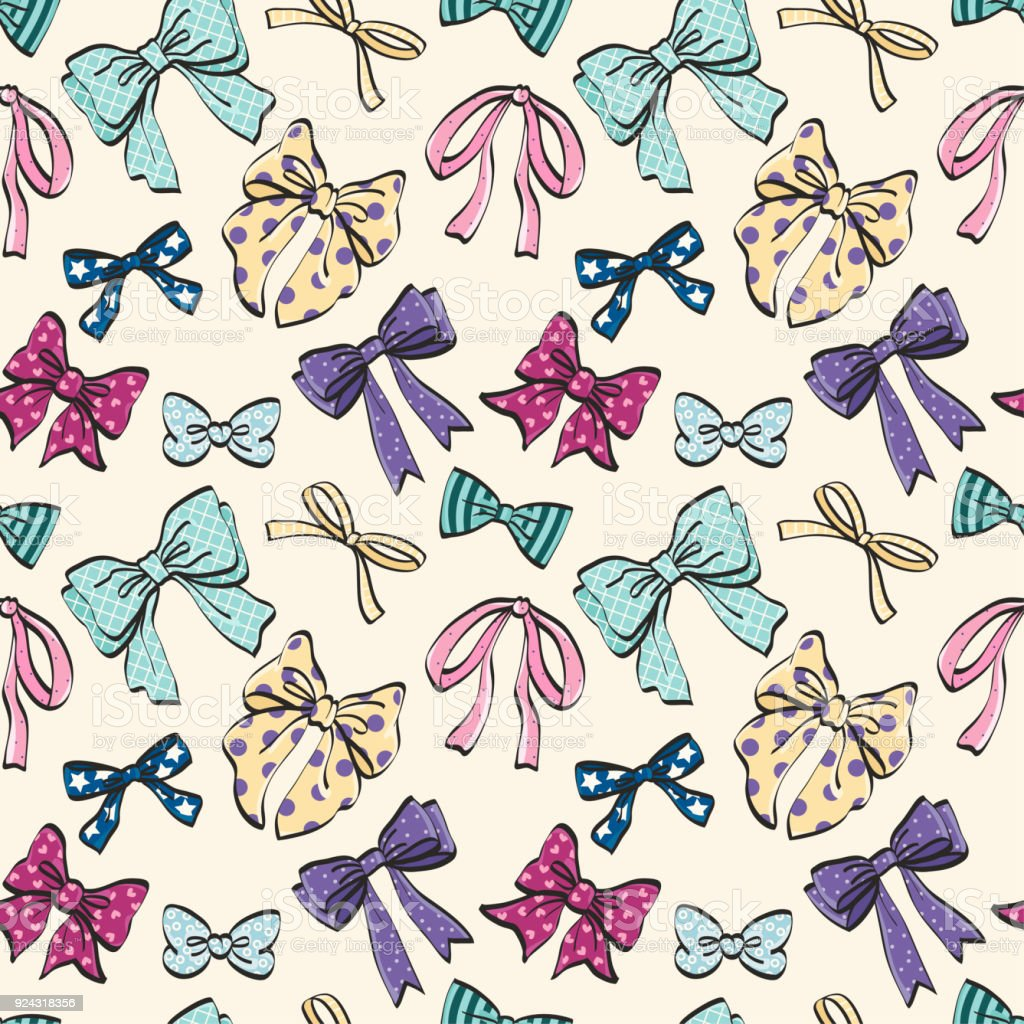 Cute Seamless Pattern With Beautiful Hand Drawn Bows Vector Doodle Illustration Cloth Design